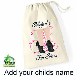 Tap-Dance-Shoes-Draw-String-Shoe-Bag-Sack-Personalised-Name-Birthday-Gift