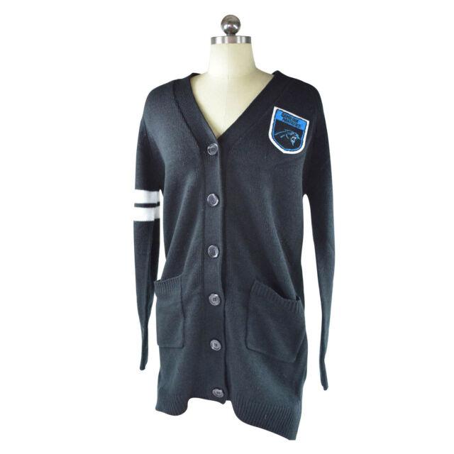 NFL Team Apparel Carolina Panthers Womens Varsity Cardigan Sweater Sm med  Black 0c13dd384