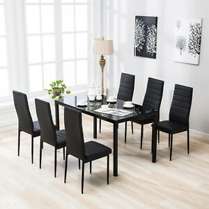 7 piece dining table set 6 chairs black glass metal kitchen room furniture 711005977005 ebay. Black Bedroom Furniture Sets. Home Design Ideas
