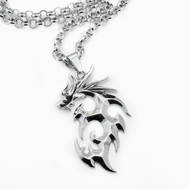 Silver Tone Tribal Dragon Pendant Necklace w/ Rolo Chain