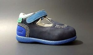 KICKERS Baby Boys Shoes Fashion LEATHER Blue Size 3,5 USA/19 EURO.FREE RETURN
