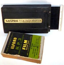 PHOTO GRAPHIC FILM PACK ADAPTER Model 2 & VINTAGE ILFORD 2.25 X 3.25 H.P.3 FILM