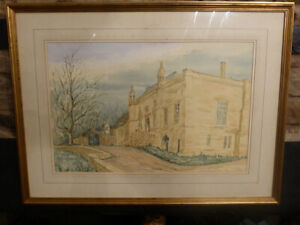 Vintage-LACOCK-ABBEY-Watercolour-by-Graham-Watling-Signed-English-Art-Painting