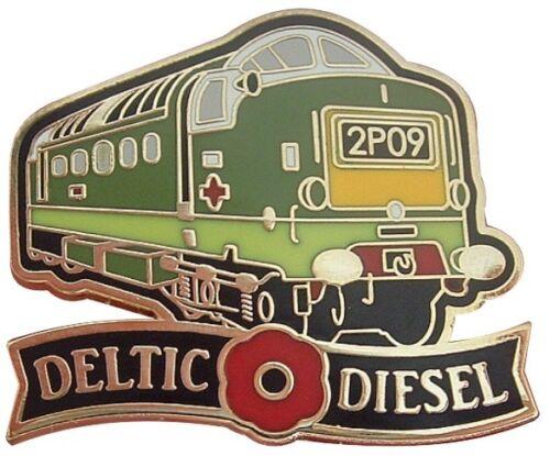 BRITISH RAIL CLASS 55 DELTIC DIESEL LOCO RAILWAY TRAIN POPPY PIN BADGE
