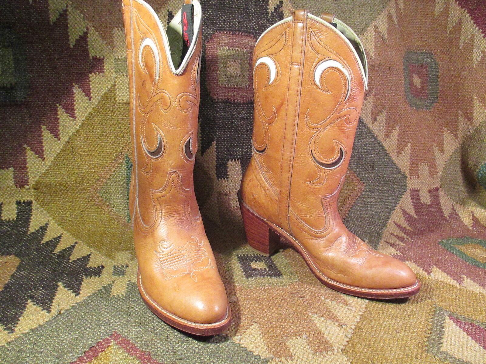 Acme Dingo Marrón Cuero Incrustación Vaquera botas De Vaquero n Hecho en EE. UU.