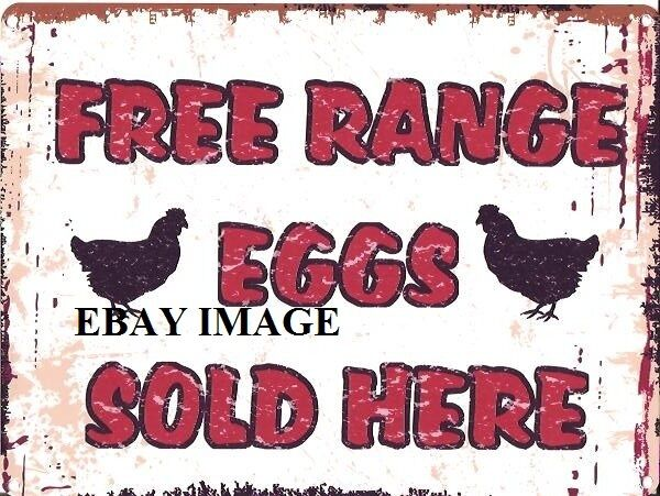FREE RANGE EGGS SOLD HERE METAL SIGN RETRO VINTAGE STYLE SMALL