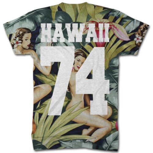 HONOLULU ALL OVER PRINT T SHIRT HAWAIIAN HAWAII PINUP PATTERN  SWAG MEN DOPE