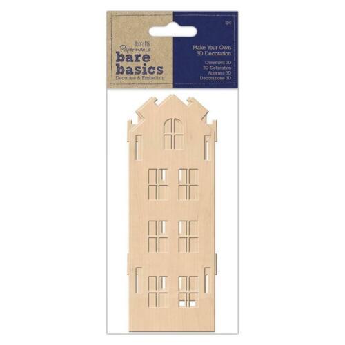 Papermania Bare Basics Make Your Own 3D Tall contreplaqué Maison en Bois Décorations