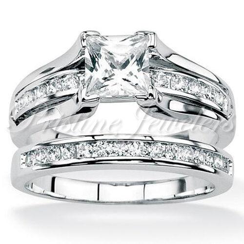 925-Sterling-Silver-Womens-Wedding-Band-Princess-CZ-Bridal-Engagement-Ring-Set