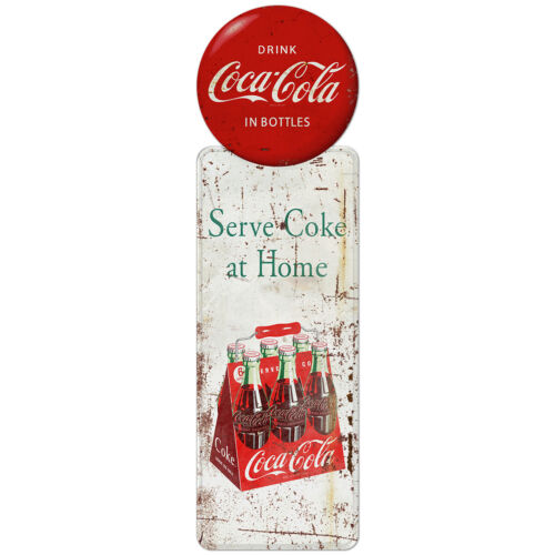 Serve Coke at Home Coca-Cola Pilaster Decal 7 x 24 Grunge 1950s Style