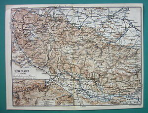 Map Of Germany Mountains.Details About 1884 Map Baedeker Germany Harz Mountains Halberstadt City Plan