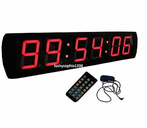 Large 4 LED Digital Wall Clock Stopwatch Count Down Up In Mins
