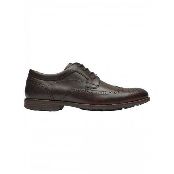 Rockport DUSTYN para Hombre de Cuero Inteligente Formal Zapatos Derby de extremo de ala Brogue marrón cacao