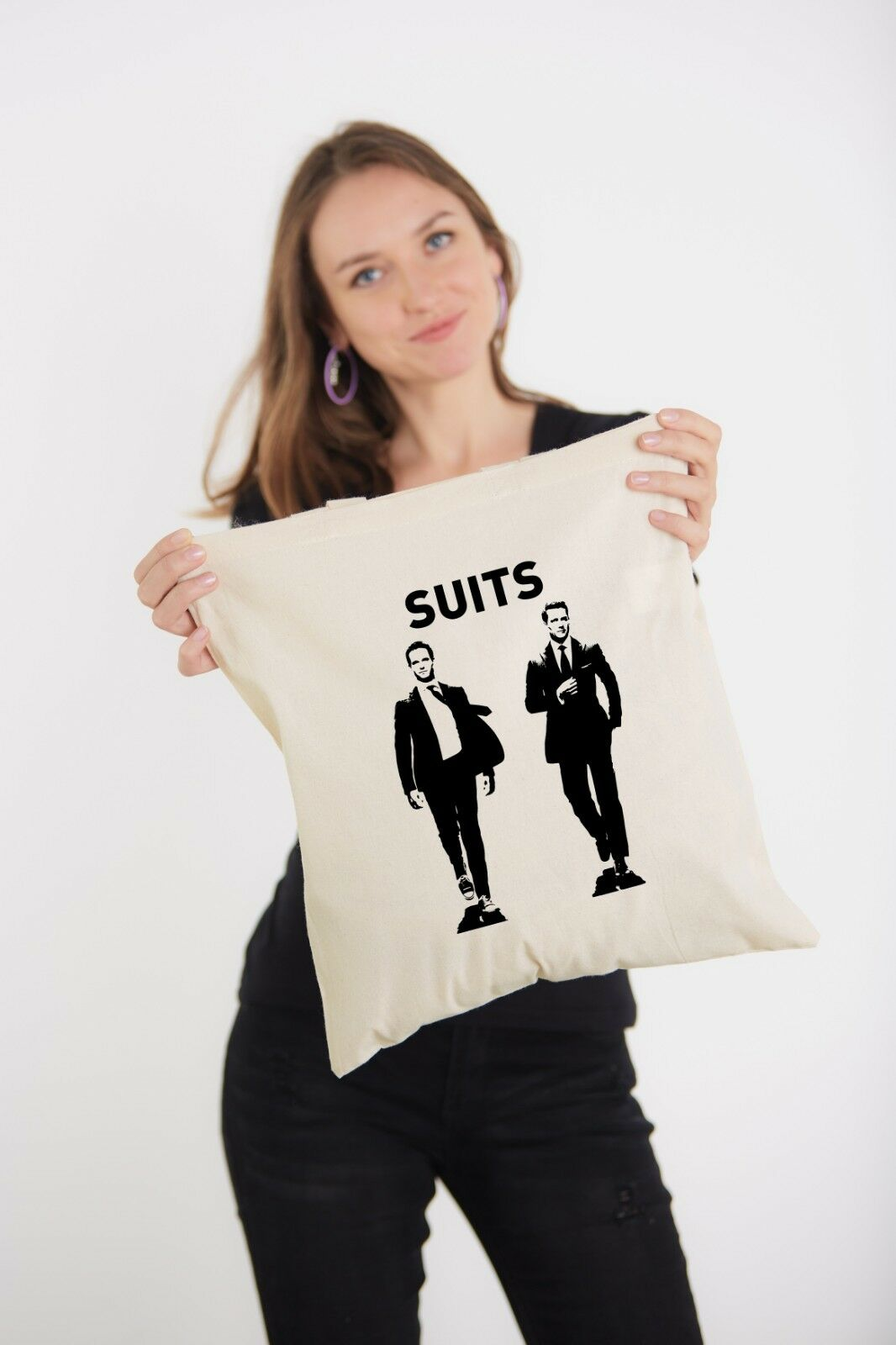 Suits Tv Show Characters Harvey Specter Mike Ross Printed Shoulder Tote Bag