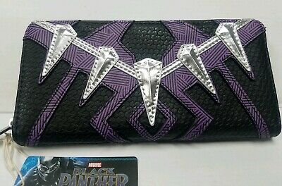Loungefly Marvel Comics Black Panther Faux Leather Zip Clutch Wallet MVWA0084