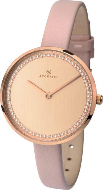 Armbanduhren Accurist Ladiesrose Gold Dial Pink Leather Strap Watch 8232 Rrp £79.99