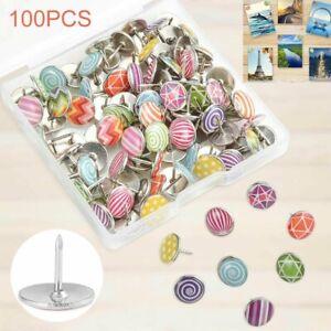 DIY-100Pcs-Round-Decorative-Push-Pins-Office-Drawing-Board-Map-Thumb-Tacks-Kit