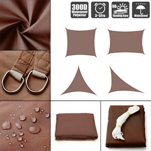 Sun-Shade-Sail-Outdoor-Patio-Top-Canopy-Cover-98-Anti-UV-Waterproof-Brown-US
