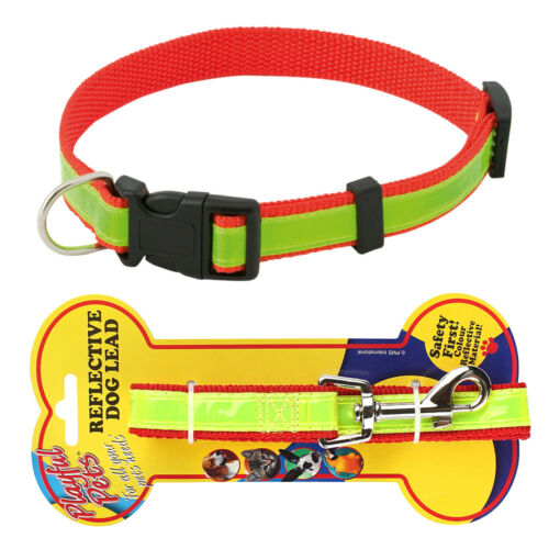 AVAILABLE WITH LEAD Fluorescent Yellow Adjustable Safety REFLECTIVE DOG COLLAR