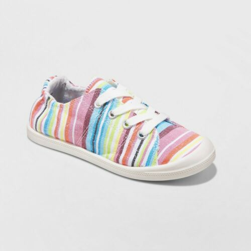 Size 2 Girls Mad Love Shana Scrunch Canvas Slip-On Sneakers Mutlicolor Striped