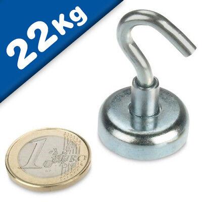 4x Magnethaken Hakenmagnet Topfmagnet starker Magnet mit Haken Neodym bis 5Kg
