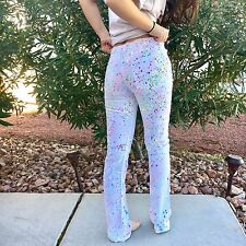 American Apparel RARE Sample Item Paint Splatter White Slim Slack Jeans Size 26