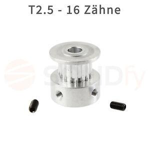 Zahnrad-T2-5-16-Zaehne-6mm-Zahnriemen-5mm-Welle-Pulley-Riemenscheibe-3D-Drucker