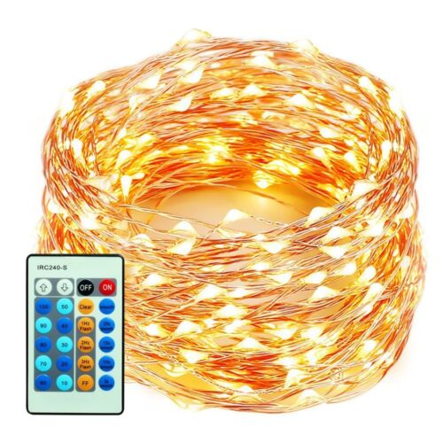 99 Feet 300 LEDs Copper Wire String Lights Dimmable with Remote Control,
