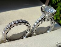 1.77CT ROUND CUT SONORA DIAMOND ENGAGEMENT RING & MATCH BAND STERLING SILVER