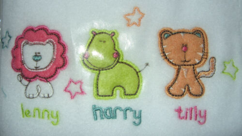 """Fleece Buggy Blanket /""""LENNY HARRY AND TILLY in white"""