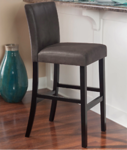 Fantastic Details About New 30 Inch Charcoal Gray Faux Leather Barstool Padded Seat Bar Height Comfort Inzonedesignstudio Interior Chair Design Inzonedesignstudiocom