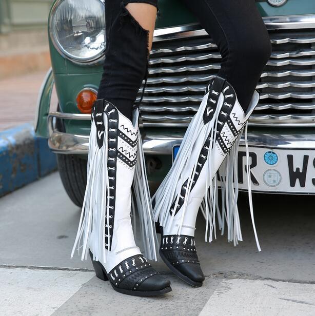 Mujeres Tacón De Bloque Bloque Bloque hecho a mano borla Pantorrilla botas De Vaquero 100% Genuino Cuero Retro N  calidad auténtica
