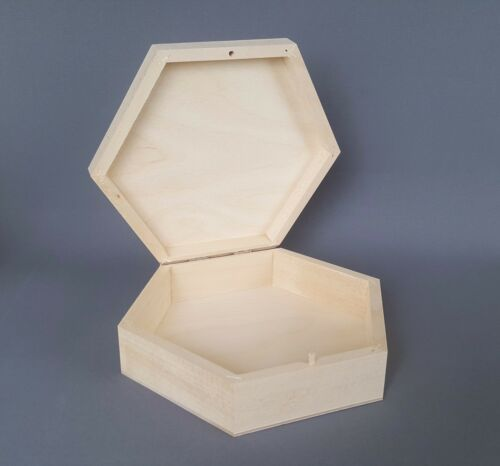 Caja de madera almacenamiento 22x19cm cajas de madera llano bagatela Joyas Relojes hexagonal