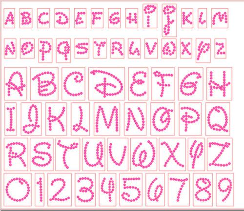 NEW Pre-Cut Sticky Flock Hotfix Rhinestone Template Disney Alphabet Numbers