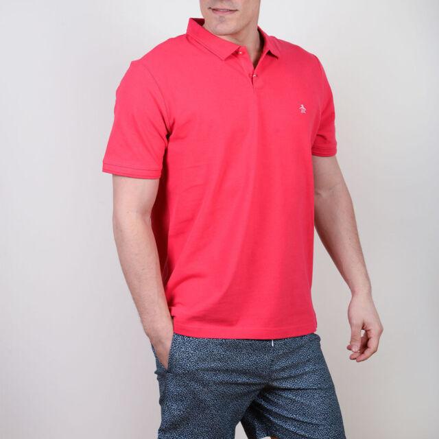 bceb20e9 Original Penguin Winston Pique Tipped Collar Raspberry Red Polo Shirt Slim  M New
