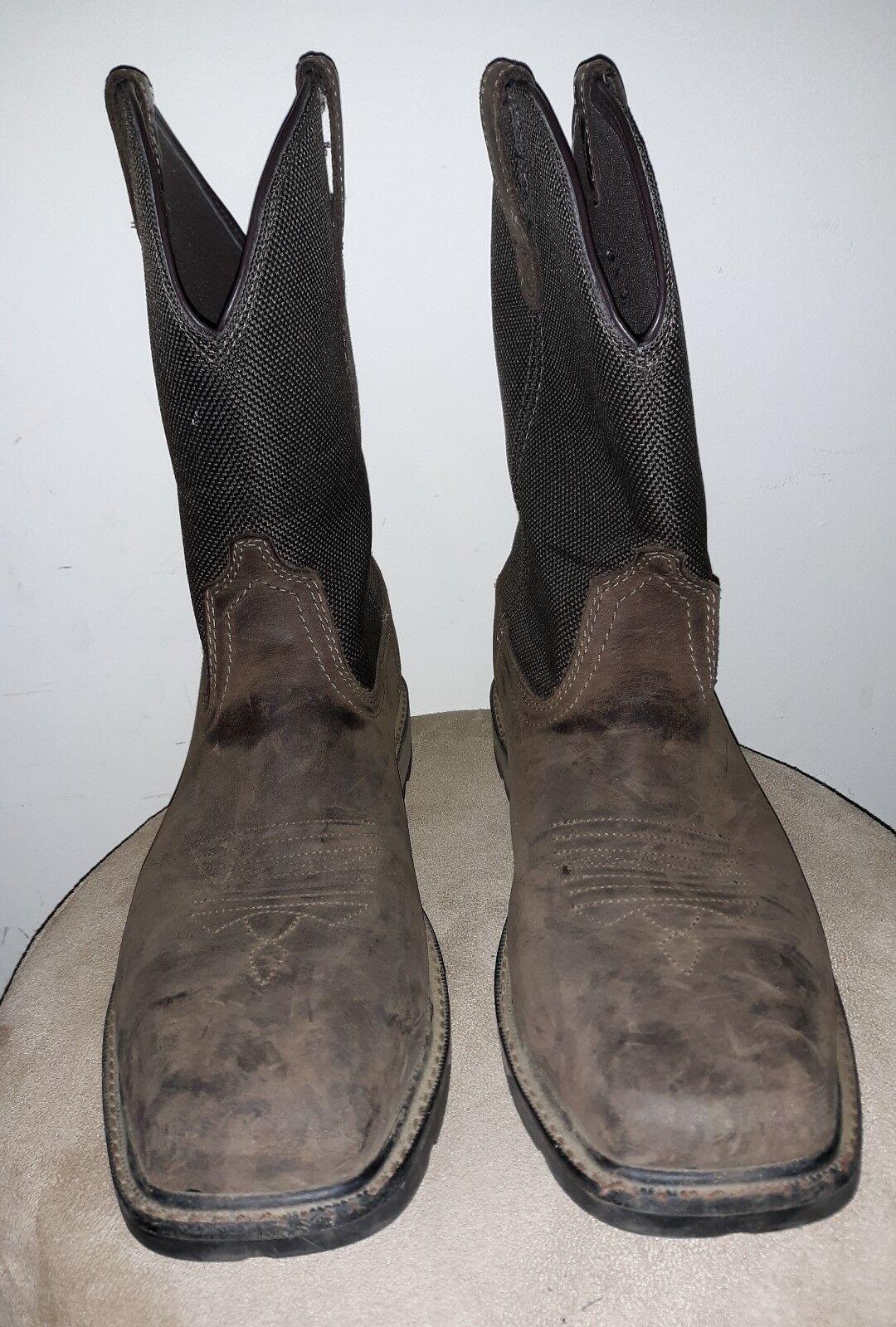EUC Ariat Men's 10.5 D Groundbreaker H20 Steel Toe Work western Boot 10015196