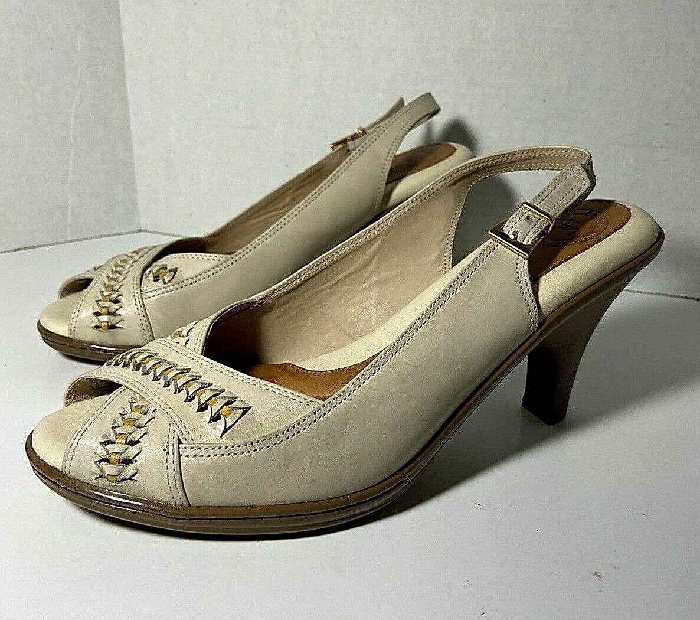 Nuture Womens Beige Leather High Heel Peep Toe Heel Strap Adjustable 8 M