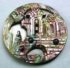 "Antique Compound Iridescent Shell Button Detailed Castle Pictorial- 1 & 1/16"""