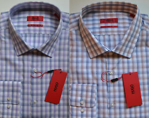 19051704e NWT HUGO Red Label By Hugo Boss Sharp Fit Long Sleeve Shadow Check ...
