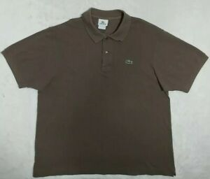 Lacoste-Polo-Shirt-Mens-Size-6-Large-US-Brown-Short-Sleeve-Cotton-Polo-EUC