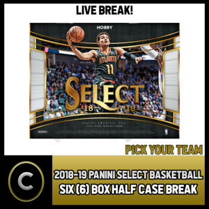 2018-19-PANINI-SELECT-BASKETBALL-6-BOX-HALF-CASE-BREAK-B096-PICK-YOUR-TEAM