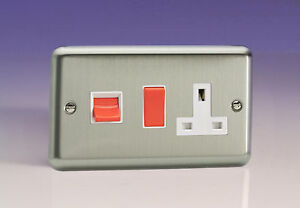 Varilight 45A Cooker Panel with 13A Double Pole Switched Socket Outlet