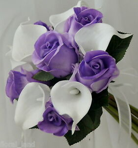 Silk Wedding Bouquet Latex Calla Lily White Purple Rose Posy
