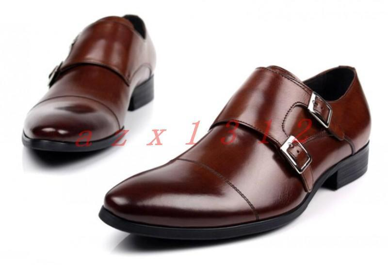 Uomo Pelle Pointy Toe Brogue Business Formal Brogue Buckles Brown Dress Shoes