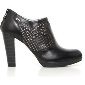 Tronchetto scarpa pelle donna nero tacco 717003 NERO GIARDINI 35 37 saldi