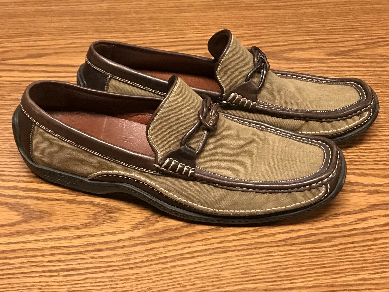 Donald J Pliner Ettore Mens Brown Leather Half Knot Strap Loafers Moccasin Sz 12