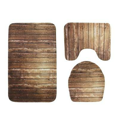 3Pcs/Set Bathroom Non-Slip Pedestal Rug+Lid Toilet Cover+Bath Mat Carpet Decor