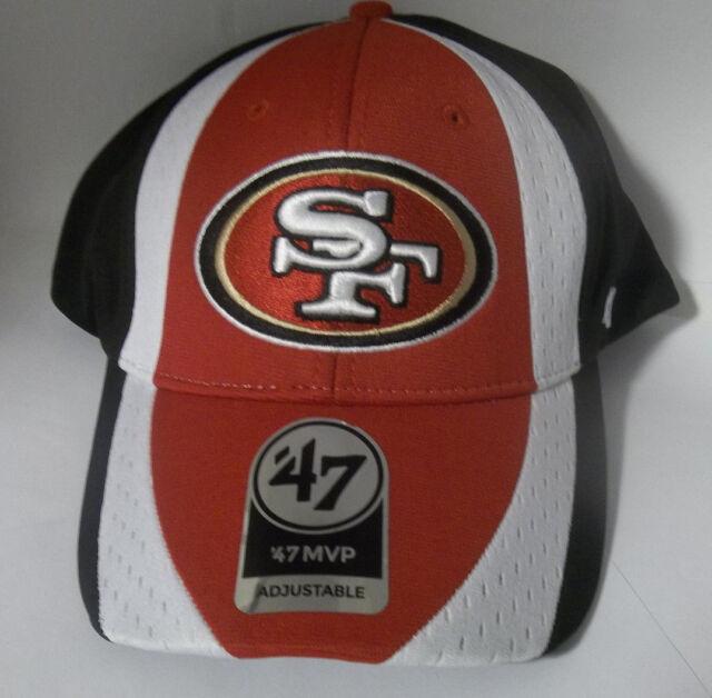 1640916894e San Francisco 49ers Logo Adjustable Adult Size Hat 47 MVP Touchback NFL Cap