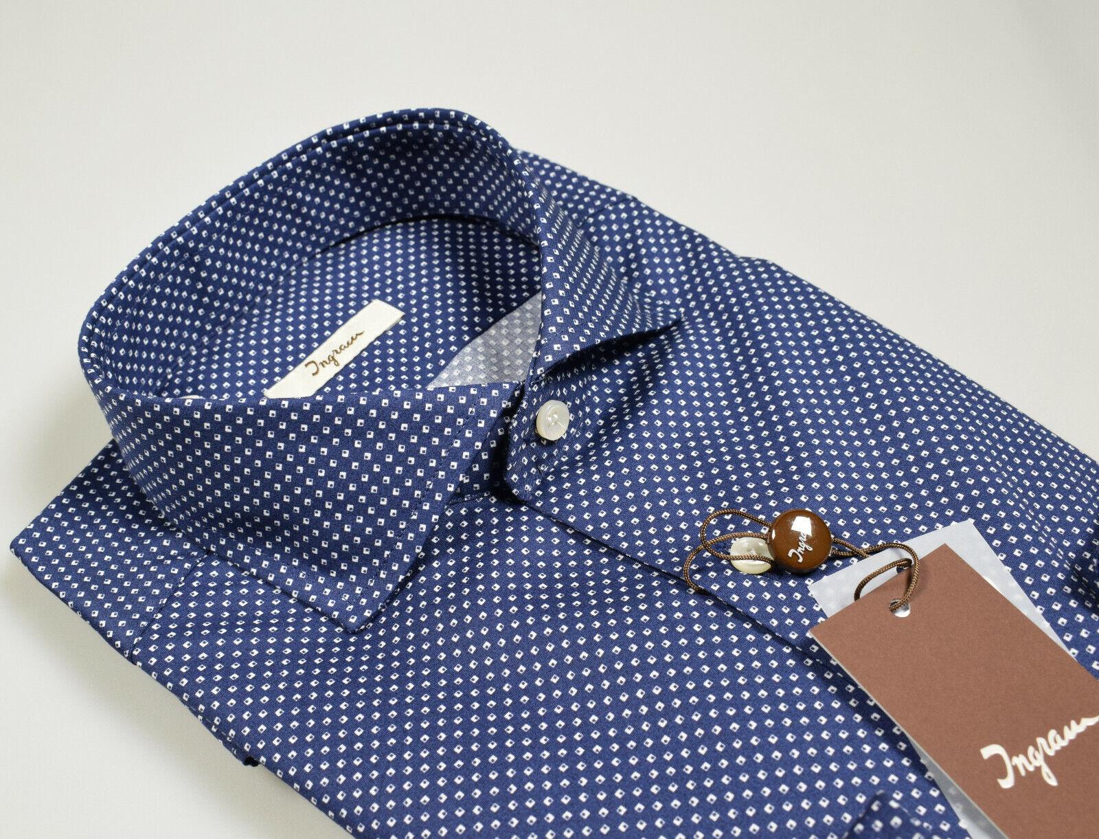 Camicia Moda Ingram Slim Fit Collo Francese Blau Cotone disegno stampato Bianco