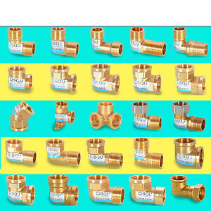 """1/2"""" 3/4"""" Male/Female Thread BSP Elbow Brass Fitting Pipe Reducer Connector"""